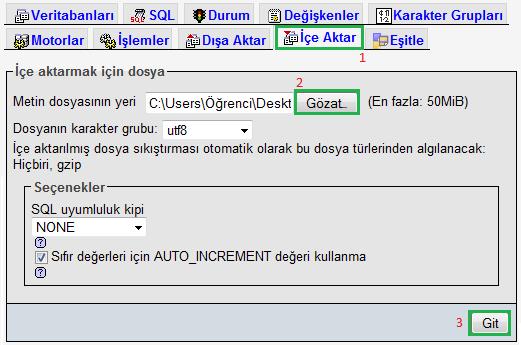 SQL İçeri Aktarma
